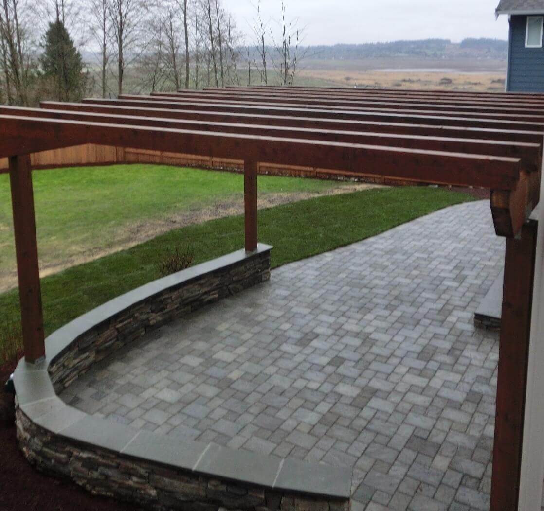 Redmond, Washington Landscape Architect Design Company Paver Patio Arbor